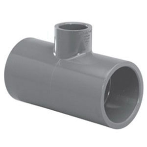 Gray PVC SCH 80 Reducing Tee, 2-1/2 in x 2-1/2 in x 1-1/4 in, Slip