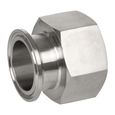304 Stainless Steel Sanitary Adapter, 2 in x 2 in, Clamp End x FNPT