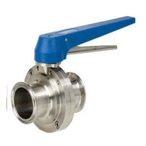304 Stainless Steel Full Port Sanitary Butterfly Valve, Tri-Clamp, 150 psi, 200 deg F