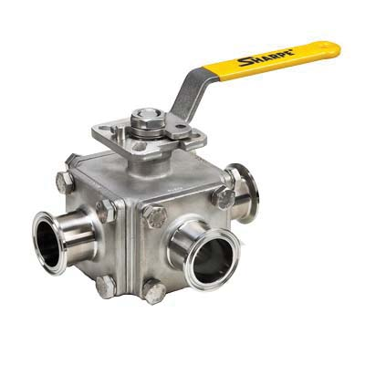316 Stainless Steel 3-Way T-Port Ball Valve, Clamp End, -50 to 500 deg F