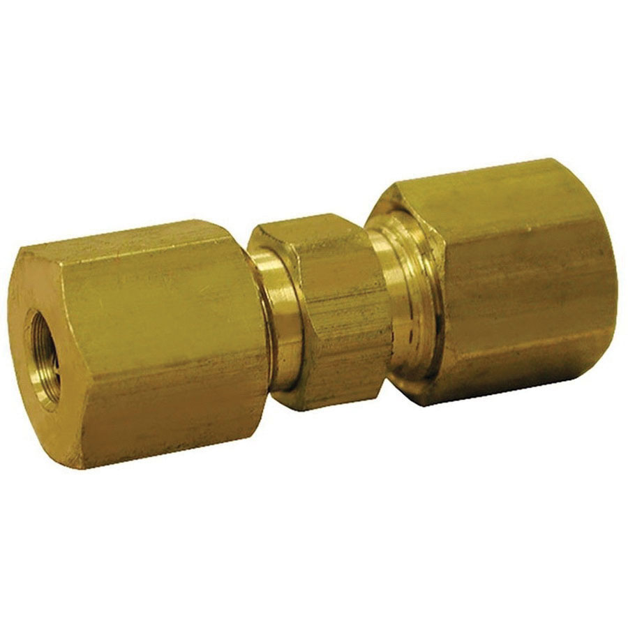 Polished Chrome/Yellow Brass Union, 1/2 in x 3/8 in, Compression, 1/PK