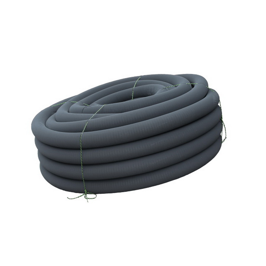 Black HDPE Perforated Regular Single Wall Corrugated Pipe with Sock Wrap, 100 ft