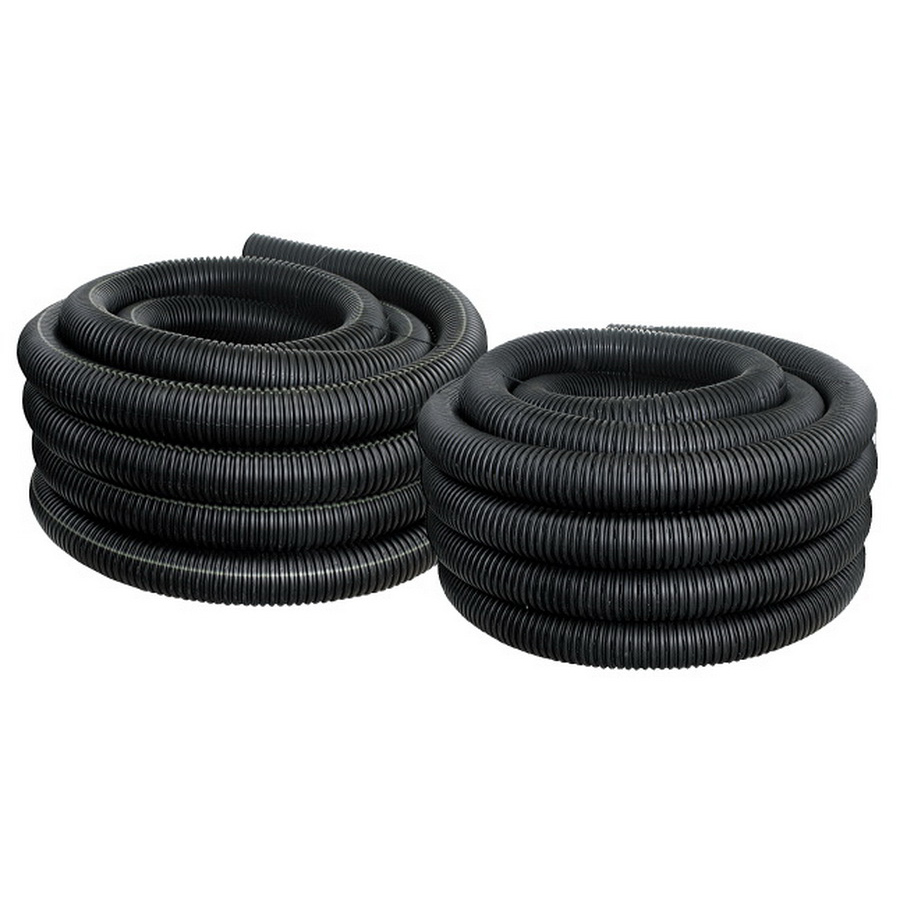 Black Perforated Regular Single Wall Corrugated Pipe, 4 in x 10 ft