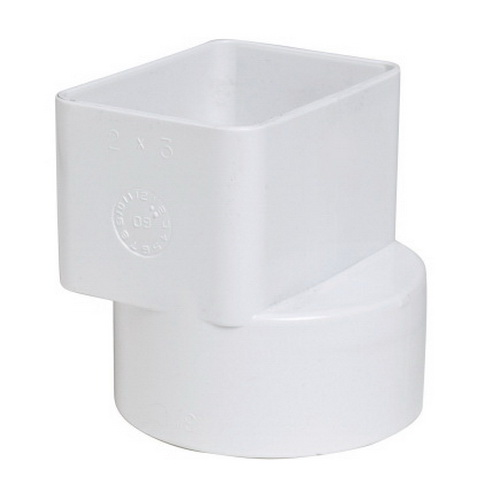 White PVC Molded Adapter, 3 in x 4 in x 4 in, Flushmount Downspout x Solvent Sewer Hub