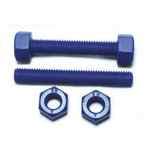 Teflon Coated Alloy Steel Stud with 2H Nut, 1/2 in x 3-1/2 in