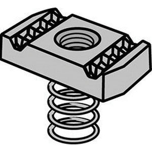 Electro Galvanized Clamping Nut with Regular Spring, 3/8-16 UNC, 100/PK