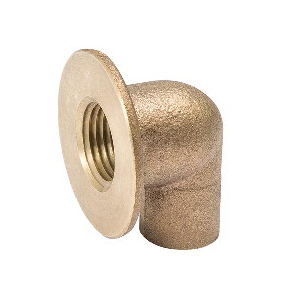 Brass Alloy Cast 90 deg Sink Elbow, 1/2 in, Copper (Female Solder) x Flanged FNPT
