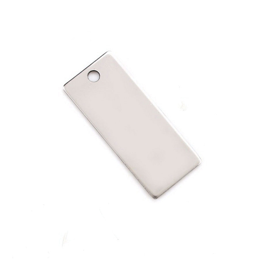 20 ga 304 Stainless Steel Rectangular Tag, 3 in x 5/8 in