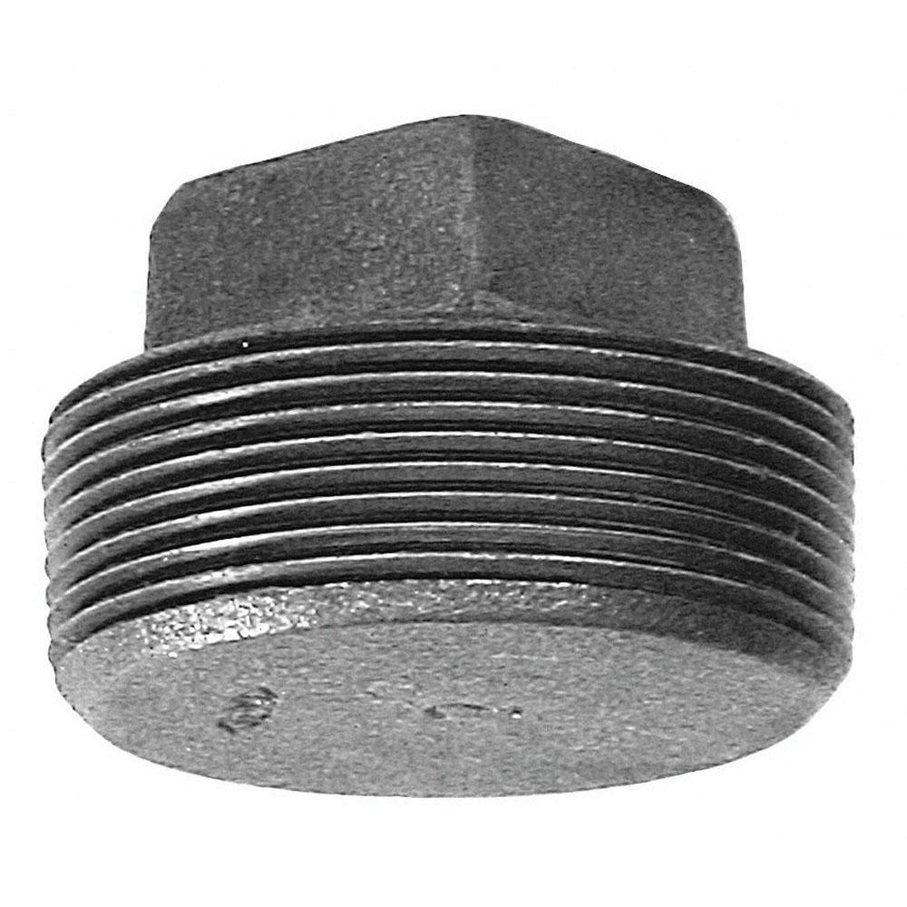 Black Steel Class 150 Solid Square Head Plug, 1/8 in, MNPT, Domestic
