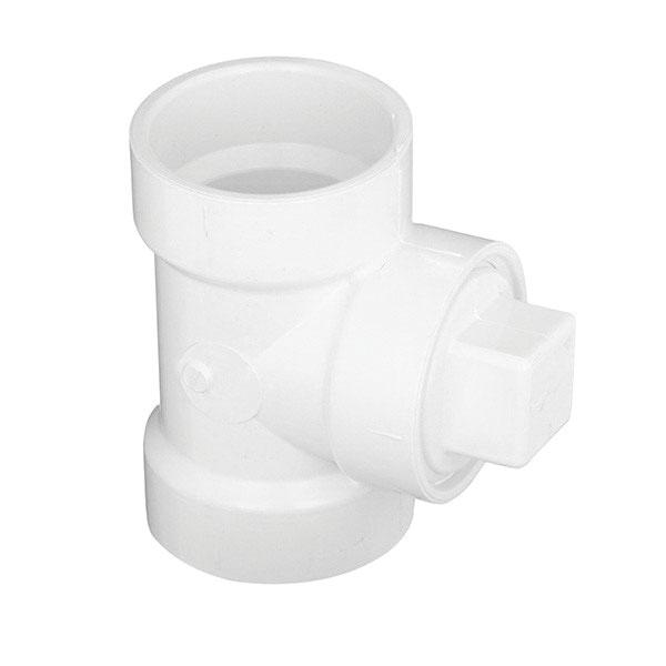 White PVC DWV Cleanout Tee with Plug, Hub x Hub x FNPT