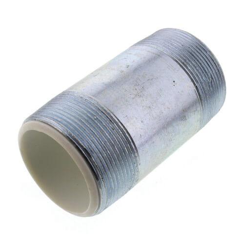Galvanized Carbon Steel SCH 40 Dielectric Nipple, 1 in x 4 in L, MIPT, 25/CT, 100/CT