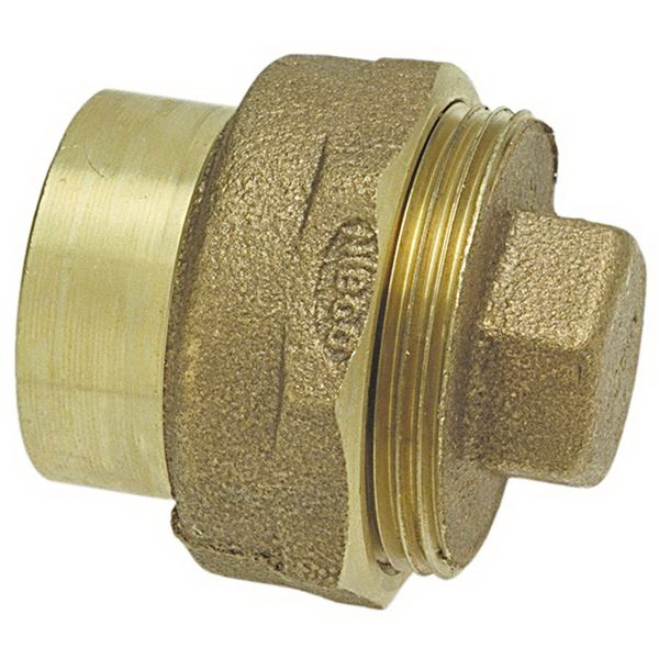 Bronze Cast DWV Adapter, 2 in, Copper Fitting x Cleanout with Plug
