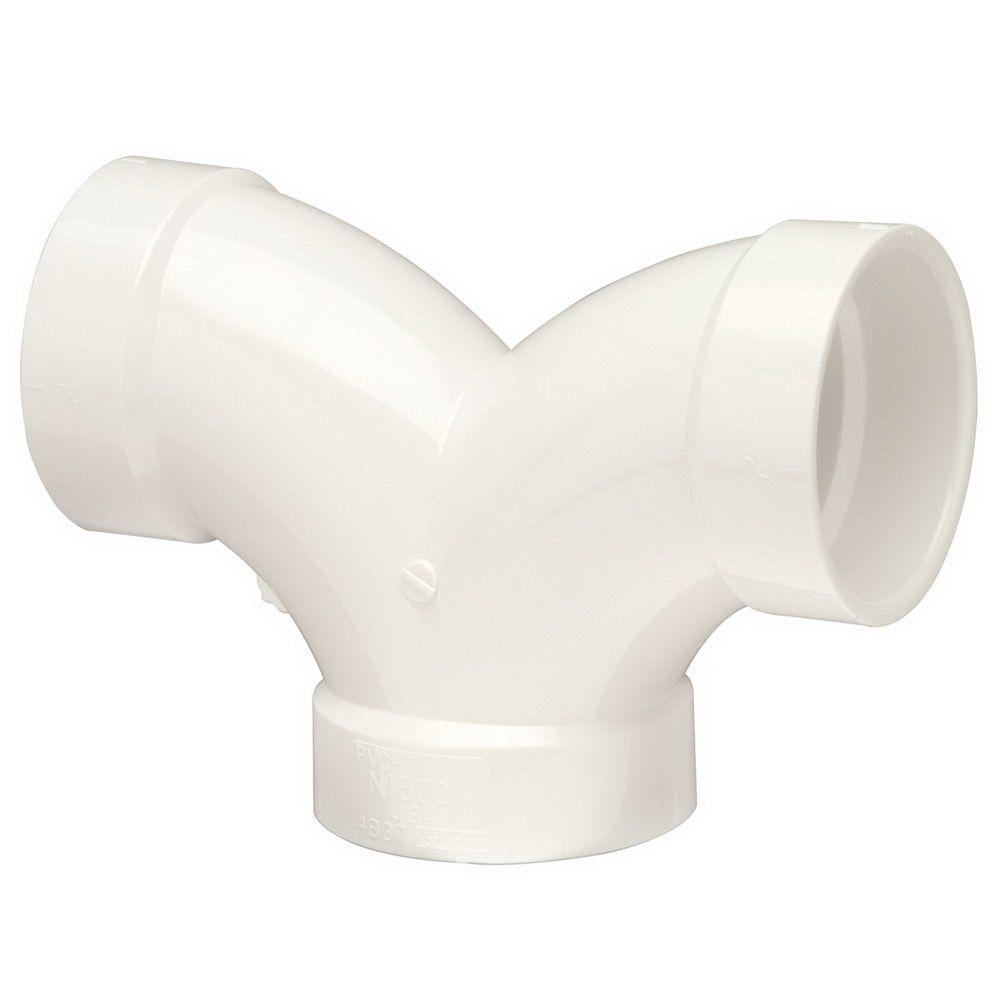 PVC 90 deg DWV Double Elbow, 4 in, Hub, Domestic