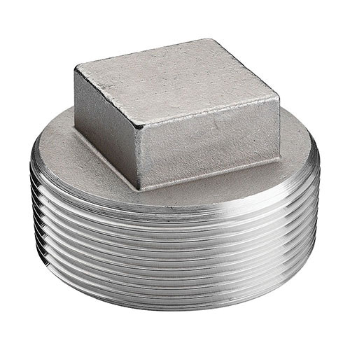 304 Stainless Steel Class 150 Cast Cored Square Head Plug, 2-1/2 in, MNPT, Import