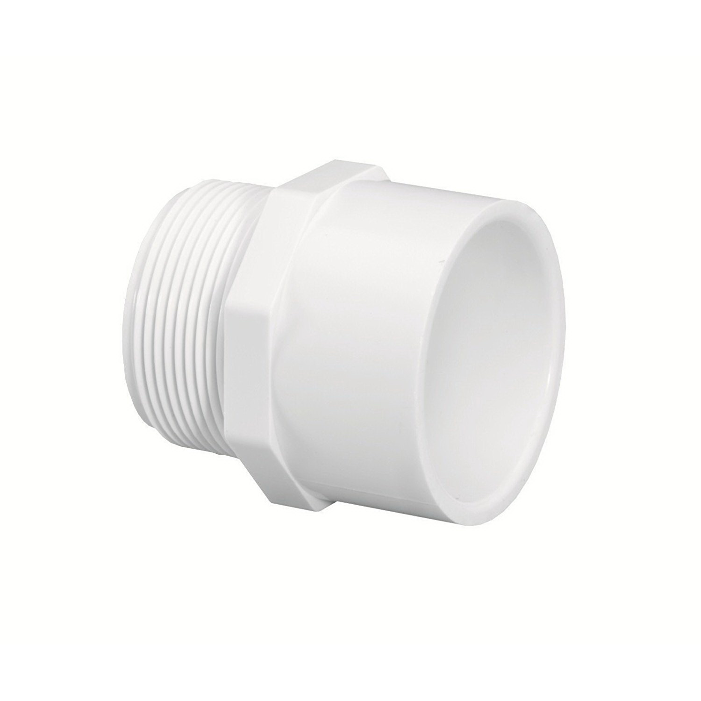 White PVC SCH 40 Molded Adapter, Socket x MNPT, Domestic