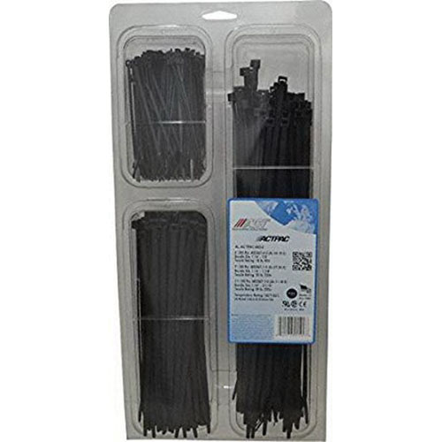 ACT AL-ACTPAC-400-0 UV Black Nylon Cable Tie, 4/7/11 in L, 18 lb/50 lb