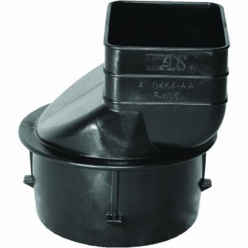 ADS® 0464AA Black Polyethylene Snap-On Single Wall Downspout Adapter, 4 in, Barb x Female