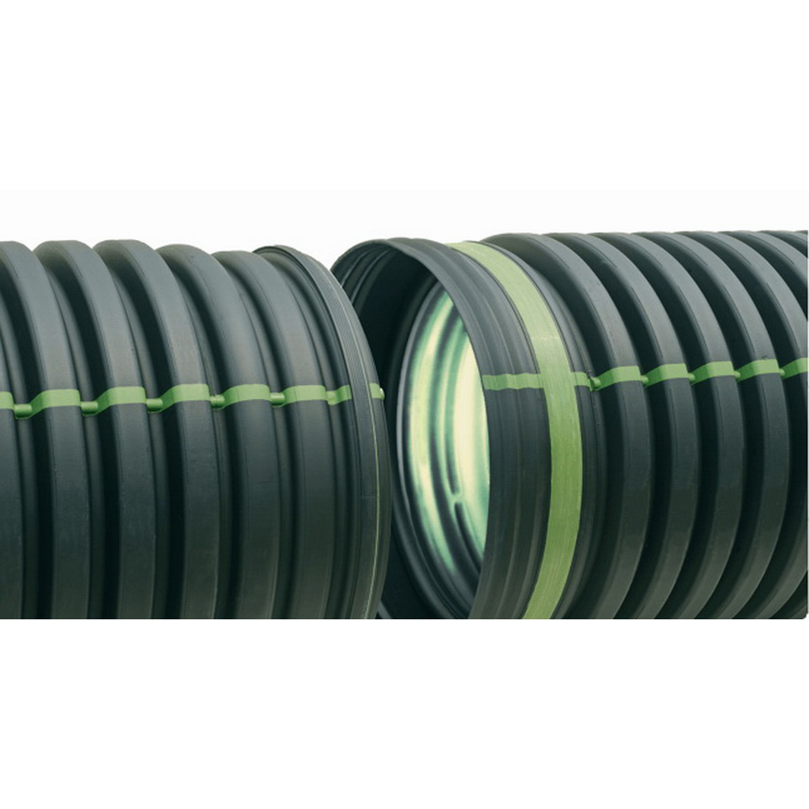 ADS® Mega Green™ Black Polyethylene Dual Wall Solid Corrugated Pipe, 20 ft, Soil Tight
