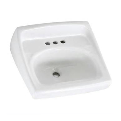 American Standard Lucerne™ 0356.421.020 White Vitreous China Wall Mount Lavatory Sink, 1-Bowl, 1-Faucet Holes