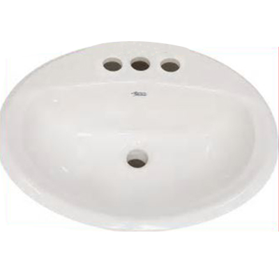 American Standard Aqualyn™ 0475.020.020 White Vitreous China Widespread Mount Countertop Sink, 1-Bowl, 3-Faucet Holes