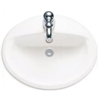 American Standard Aqualyn™ 0475.047.020 White Vitreous China Top Mount Countertop Sink, 1-Bowl, 1-Faucet Holes
