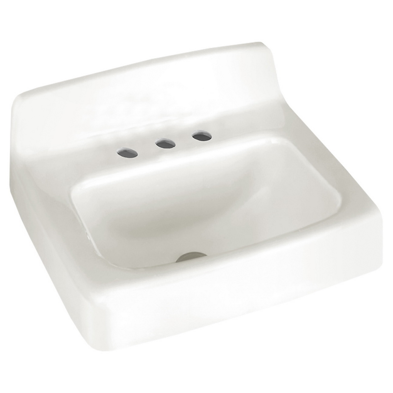 American Standard Regalyn™ 4867.001.020 Glossy Porcelain/White Enameled Cast Iron Wall Mount Lavatory Sink, 1-Bowl, 1-Faucet Holes