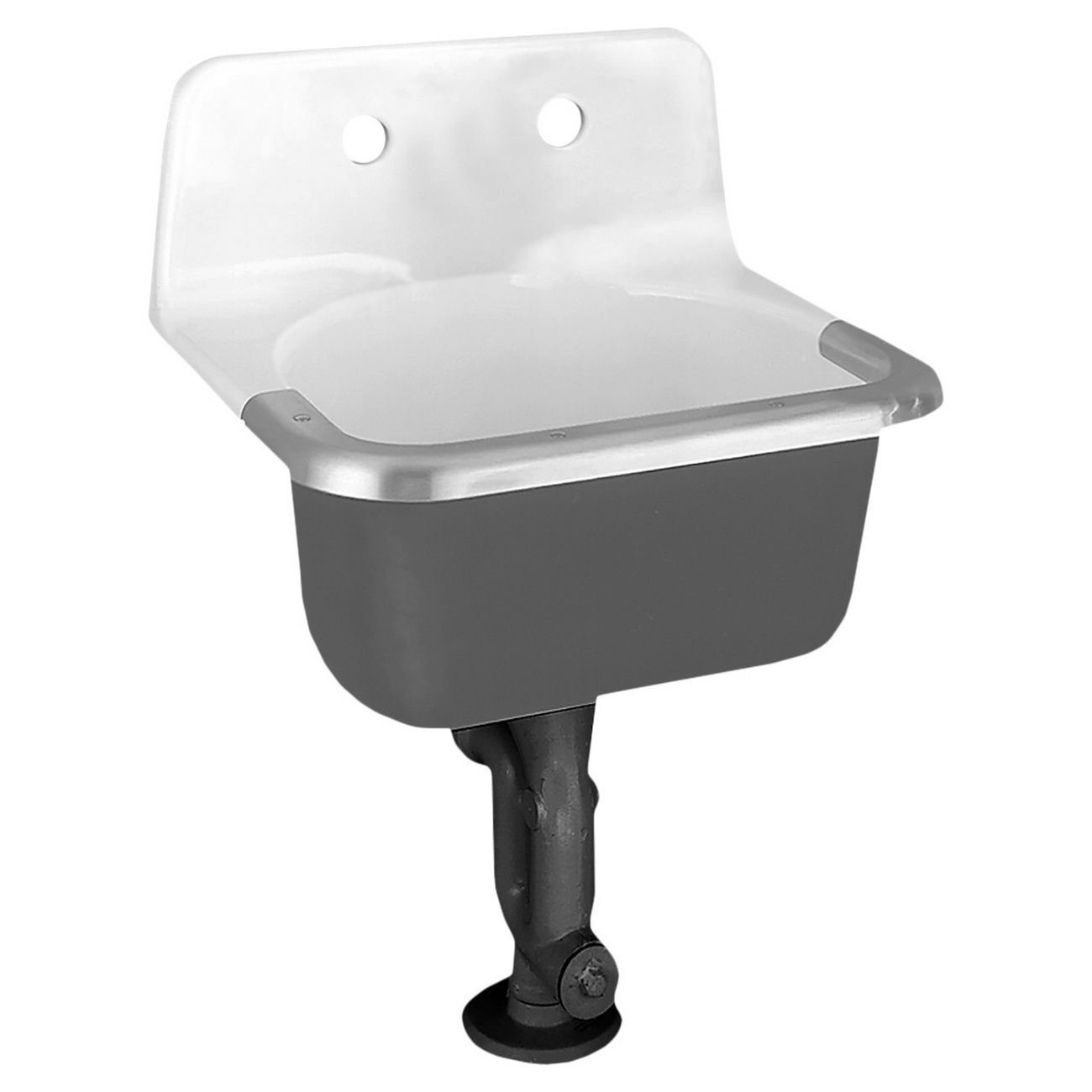 American Standard Lakewell™ 7692.008.020 White Enameled Cast Iron Wall Mount Service Sink with Plain Back and Rim Guard, 1-Bowl, 2-Faucet Holes