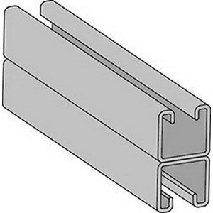 Anvil-Strut™ 2400001760 Pre-Galvanized Welded Back to Back Channel with Elongated Holes, 20 ft L x 1-5/8 in W x 1-5/8 in H