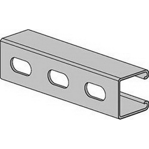 Anvil-Strut™ 2400102105 Pre-Galvanized 14 ga Channel with Elongated Holes, 10 ft L x 1-5/8 in W x 1-5/8 in H