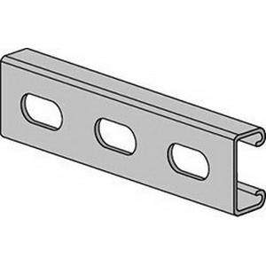 Anvil-Strut™ 2400104705 Pre-Galvanized 14 ga Channel with Elongated Holes, 10 ft L x 1-5/8 in W x 13/16 in H