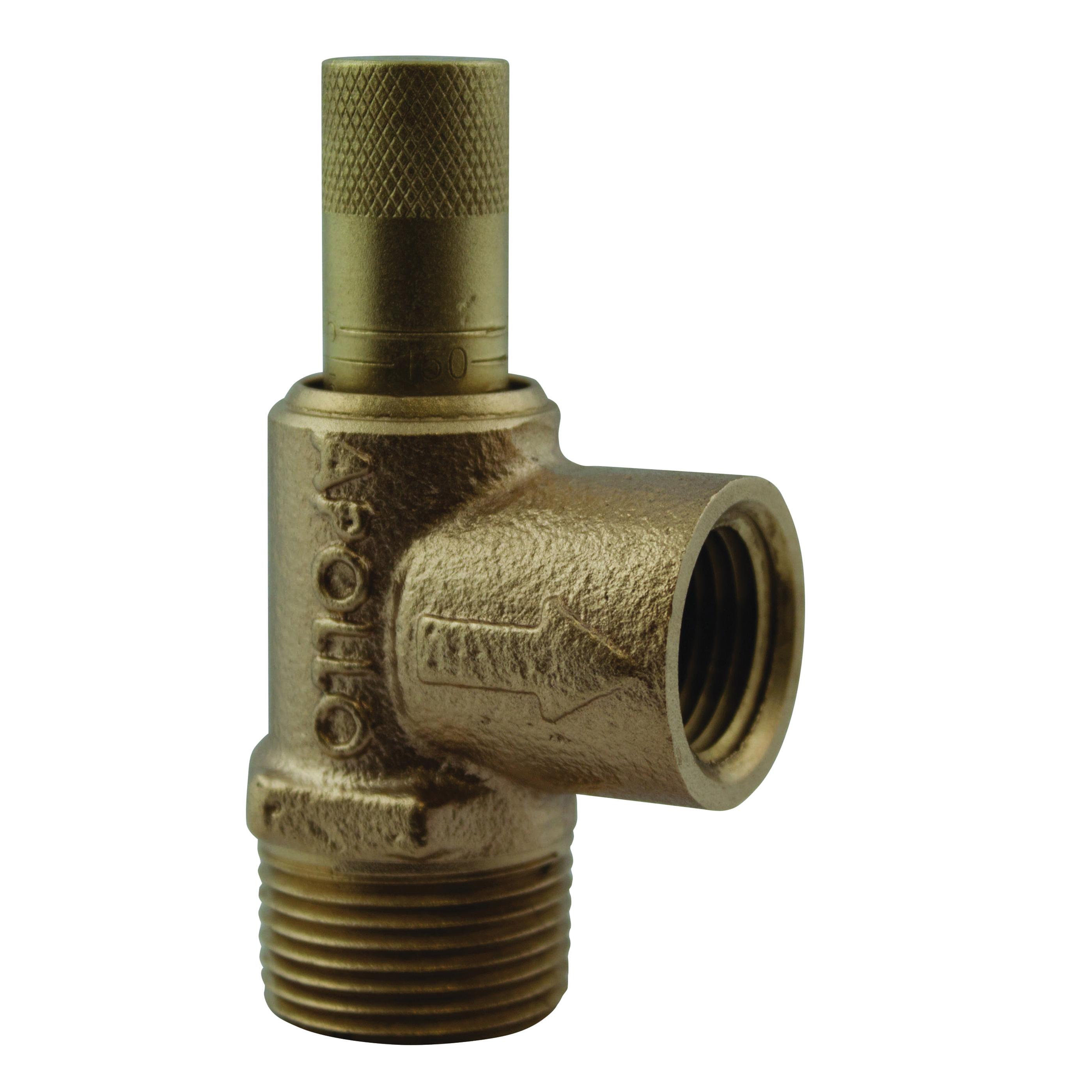 Apollo® 16-504-01 Cast Bronze Pressure Relief Valve, 3/4 in x 1/2 in, Male Inlet x Female Inlet, 50 - 175 psi, 200 deg F