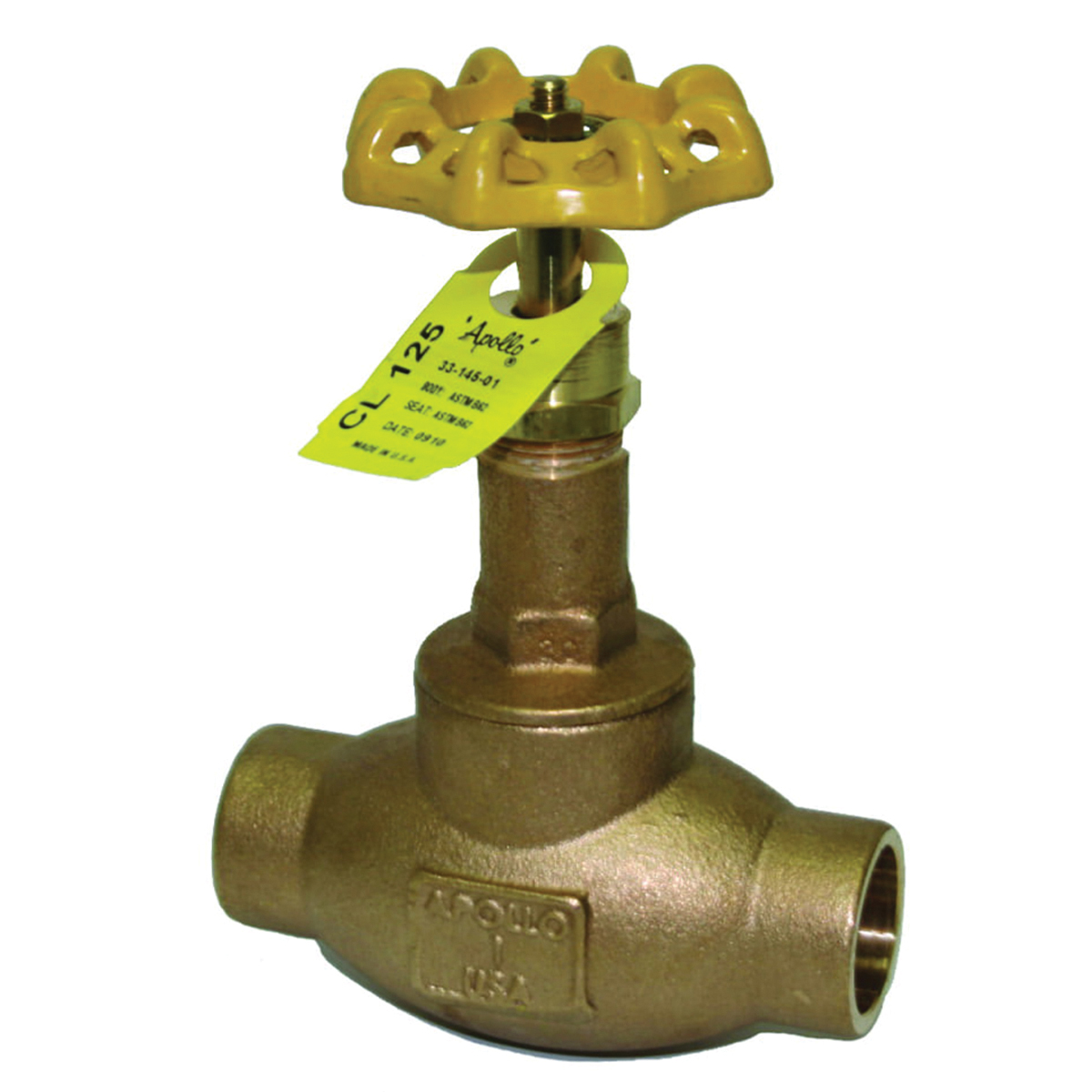 Apollo® Model 120S Bronze Globe Valve, Solder, 200 psi, -20 to 406 deg F