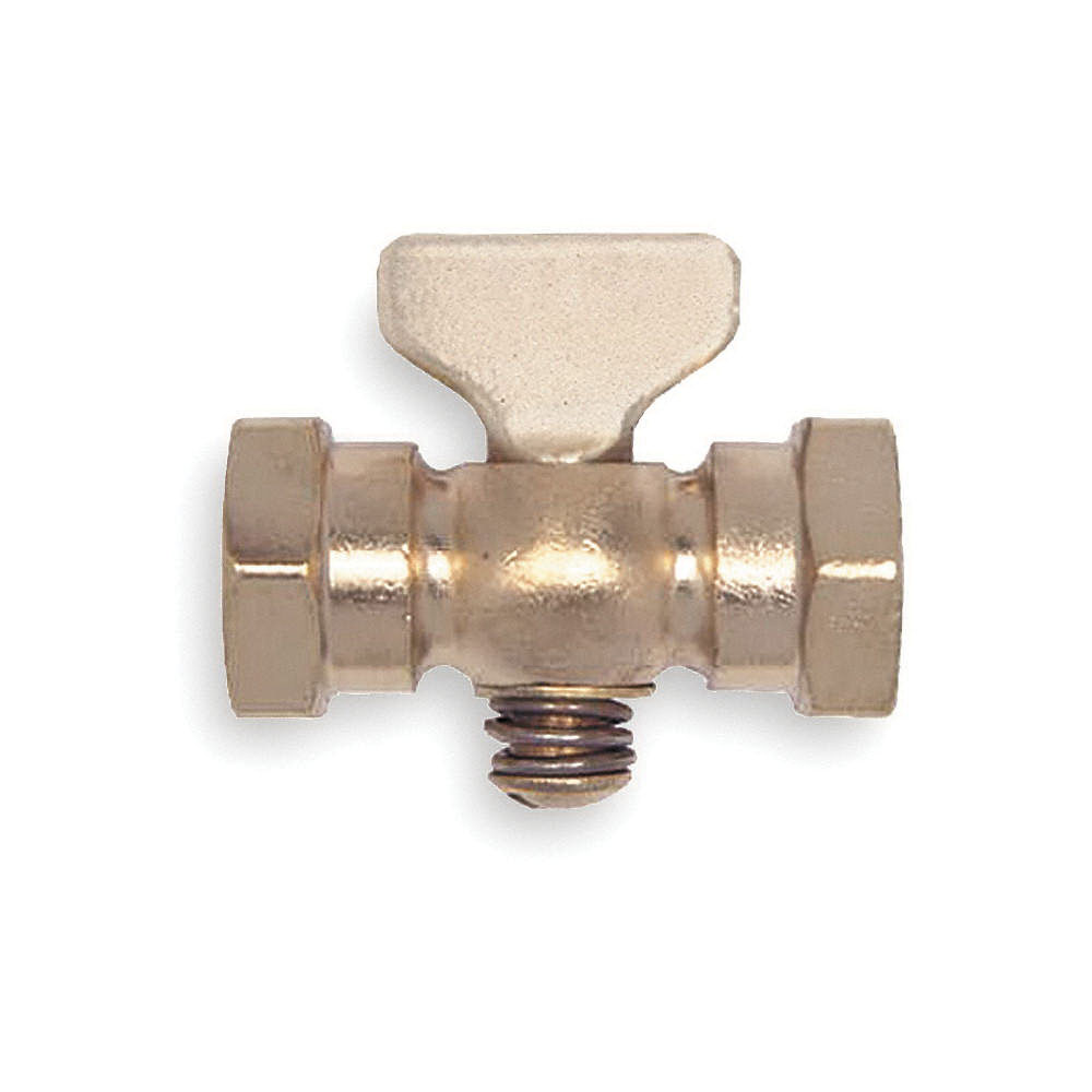 Apollo® 4156001 Satin Brass Air Cock, 1/4 in, FNPT Hexagon Shoulder, 80 psig, -20 to 500 deg F