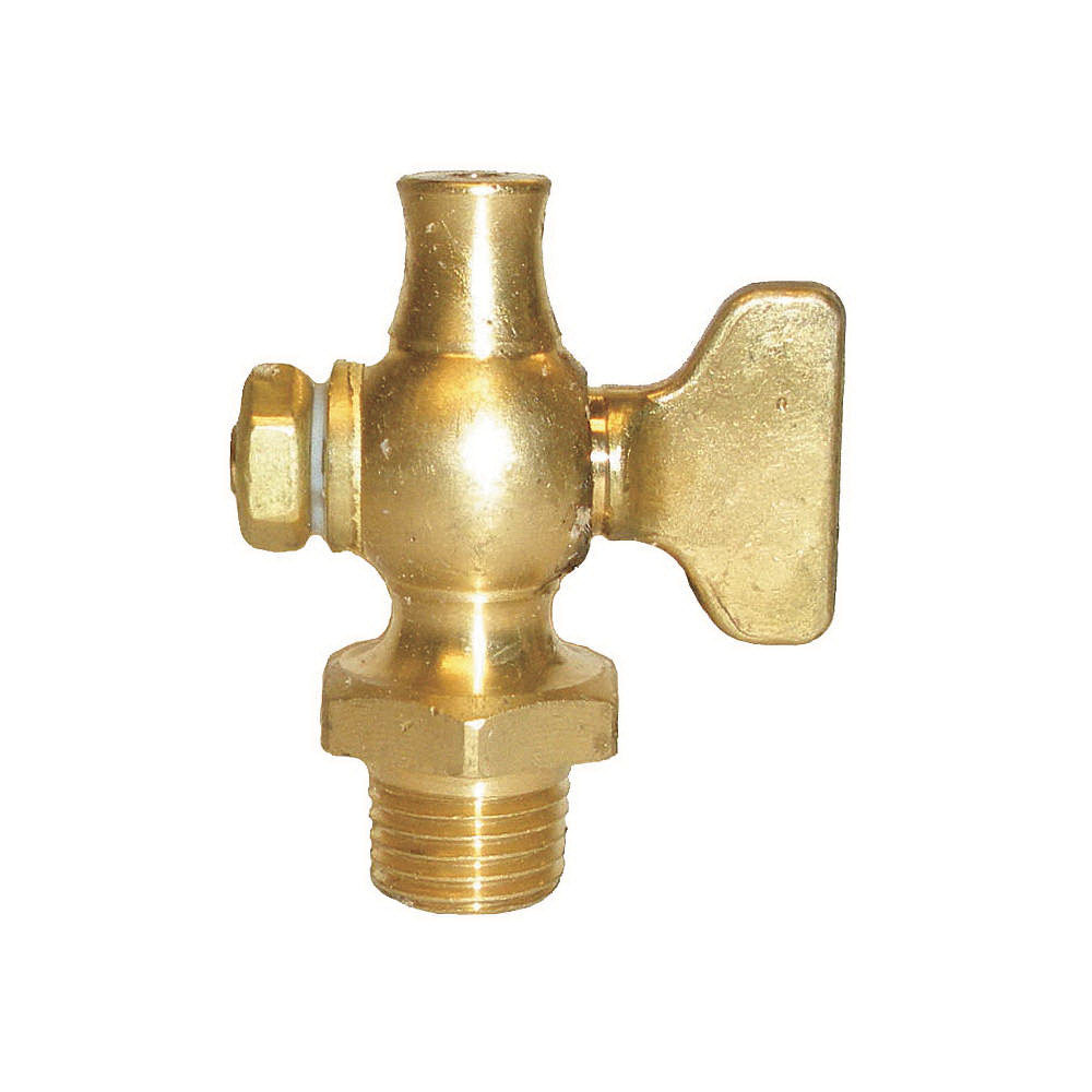 Apollo® 4164004 Satin Brass Air Cock, 1/4 in, MNPT Hexagon Shoulder x Straight Nose, 200 psig, -20 to 500 deg F