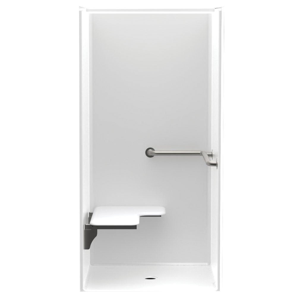 Aquatic 1363-BFSC-L-WH Smooth White Acrylx Alcove Mount 1-Piece Shower Stall, 36 in Opening