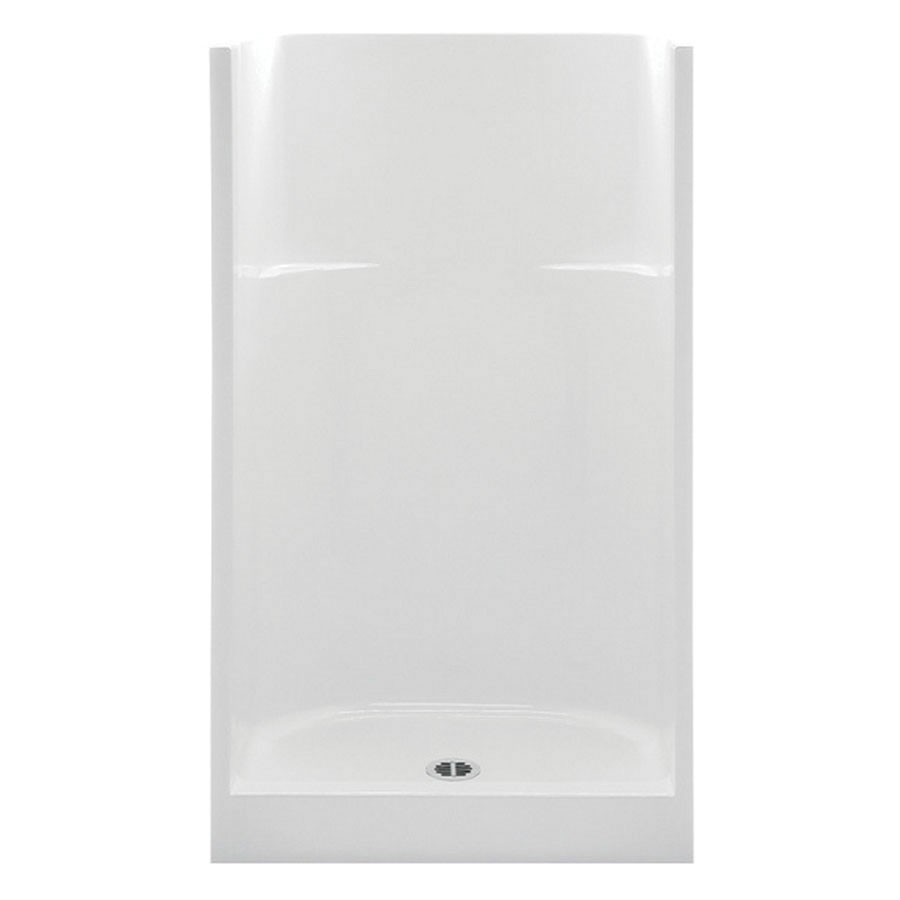 Aquatic 1363C-WH Smooth White Acrylx Alcove Mount 1-Piece Shower Stall, 32 in Opening