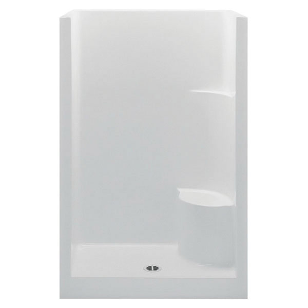 Aquatic 1483OSL-WH Smooth White Acrylx Alcove Mount 1-Piece Shower Stall, 41-3/4 in Opening, 1-Shelf
