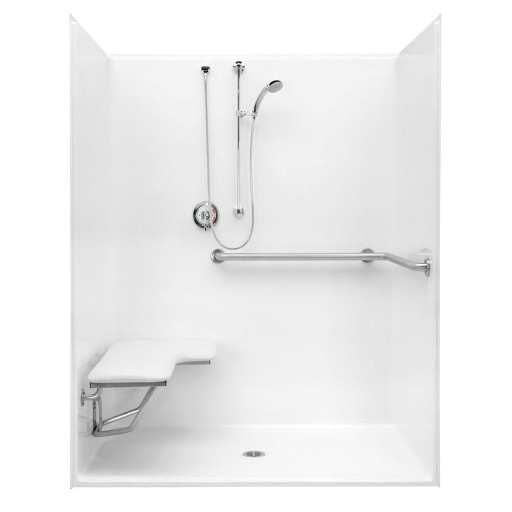 Aquatic 1603-BFSD-L-WH Smooth White Acrylx Alcove Mount 1-Piece Shower Stall, 60 in Opening