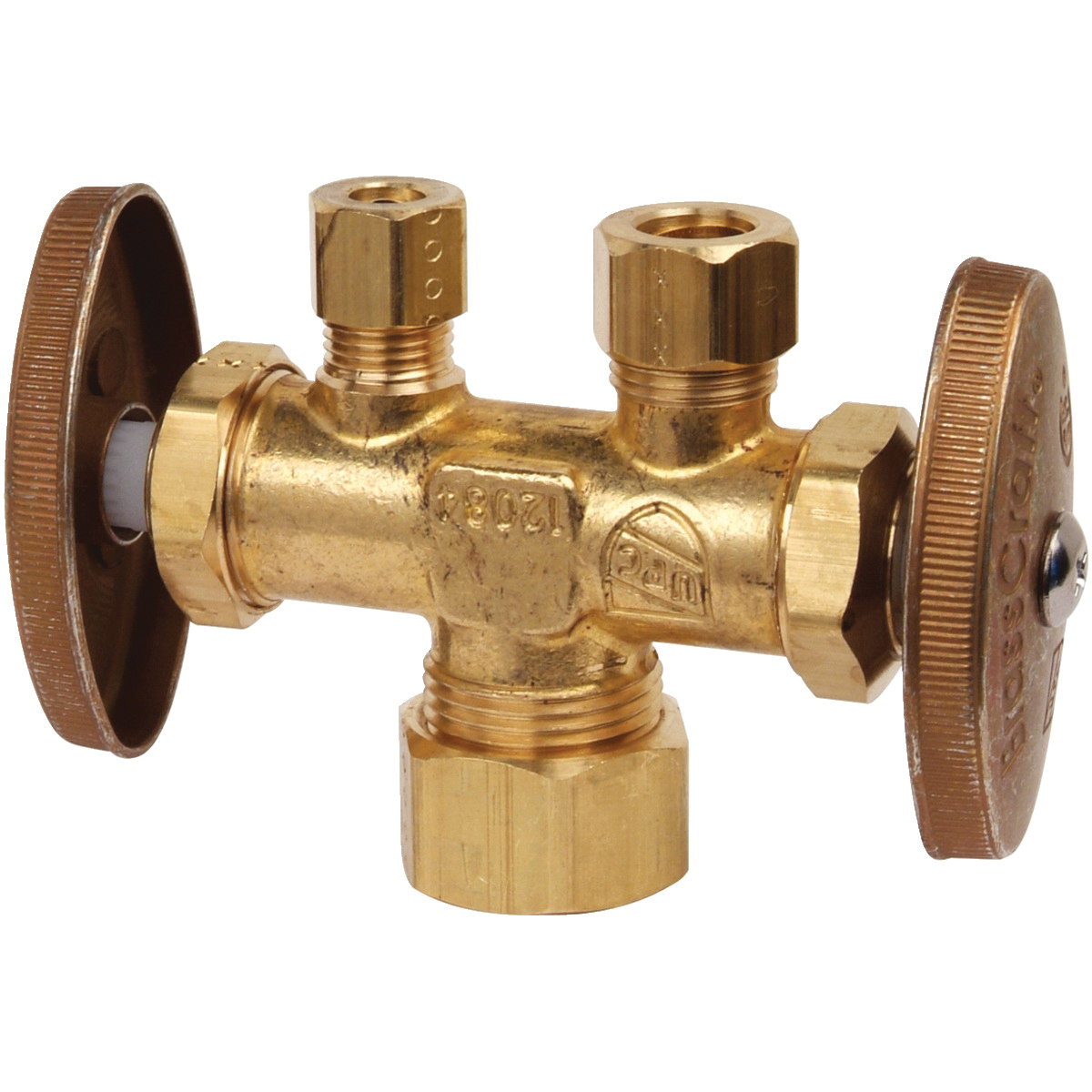 BrassCraft® CR1900DVSXR Brass Straight Supply Stop Valve, 1/2 in x 3/8 in x 1/4 in, Compression, 125 psi, 40 - 140 deg F