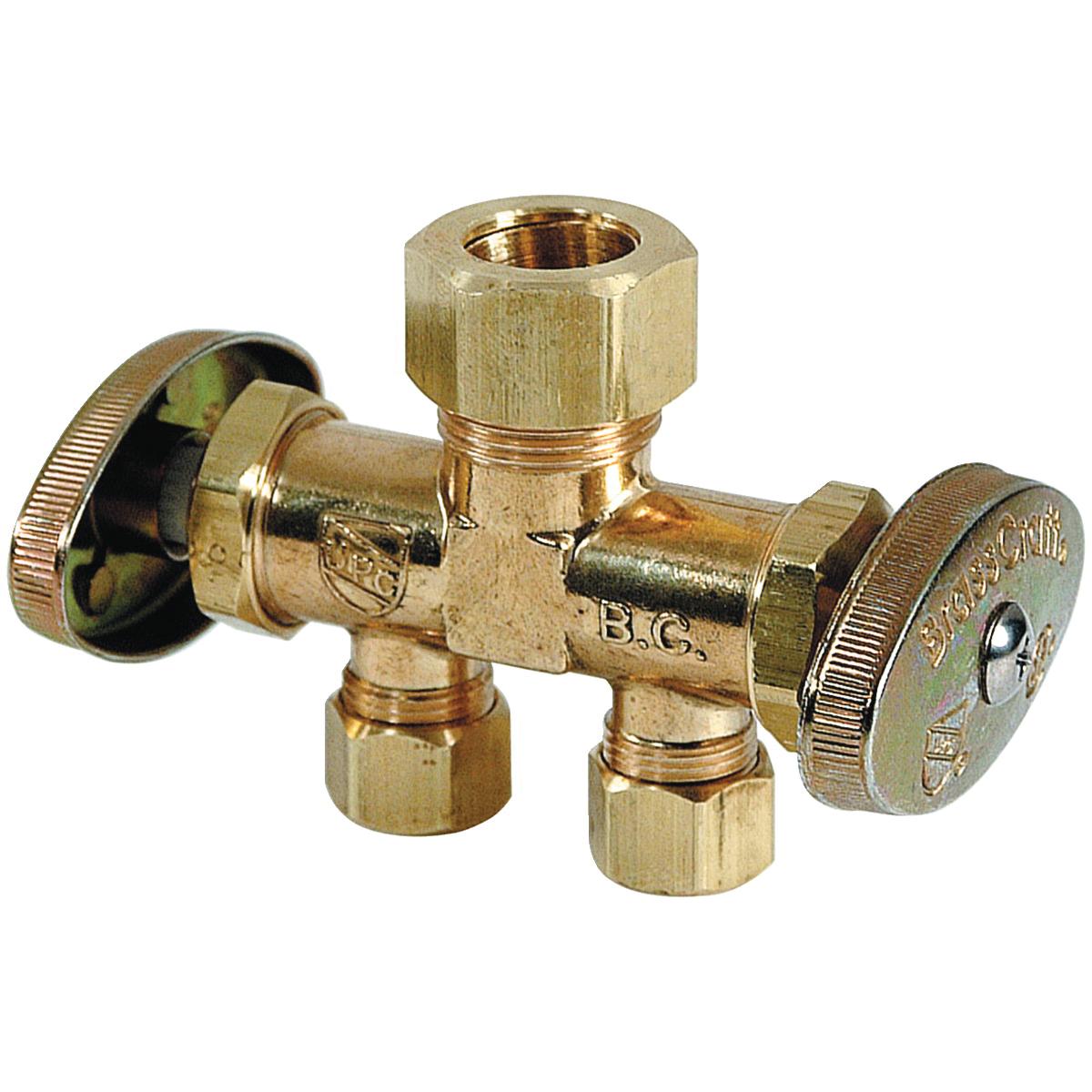 BrassCraft® CR1901DVSXR Brass Straight Supply Stop Valve, 1/2 in x 3/8 in x 3/8 in, Compression, 125 psi, 40 - 140 deg F