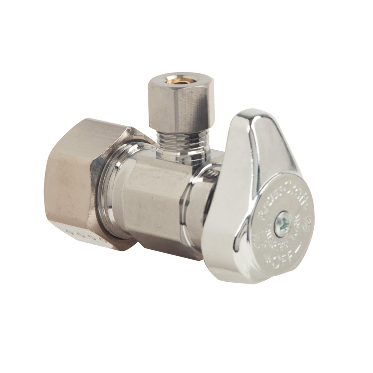 BrassCraft® G2CR09XC Brass Angle Supply Stop Valve, 1/2 in x 1/4 in, Compression, 125 psi, 40 - 140 deg F