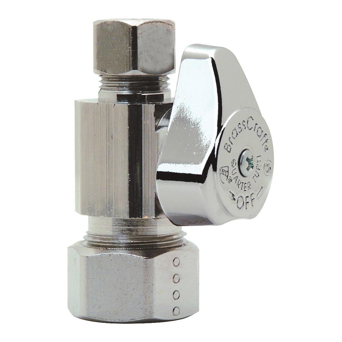 BrassCraft® G2CR14XC Brass Straight Supply Stop Valve, 1/2 in x 3/8 in, Compression, 125 psi, 40 - 140 deg F