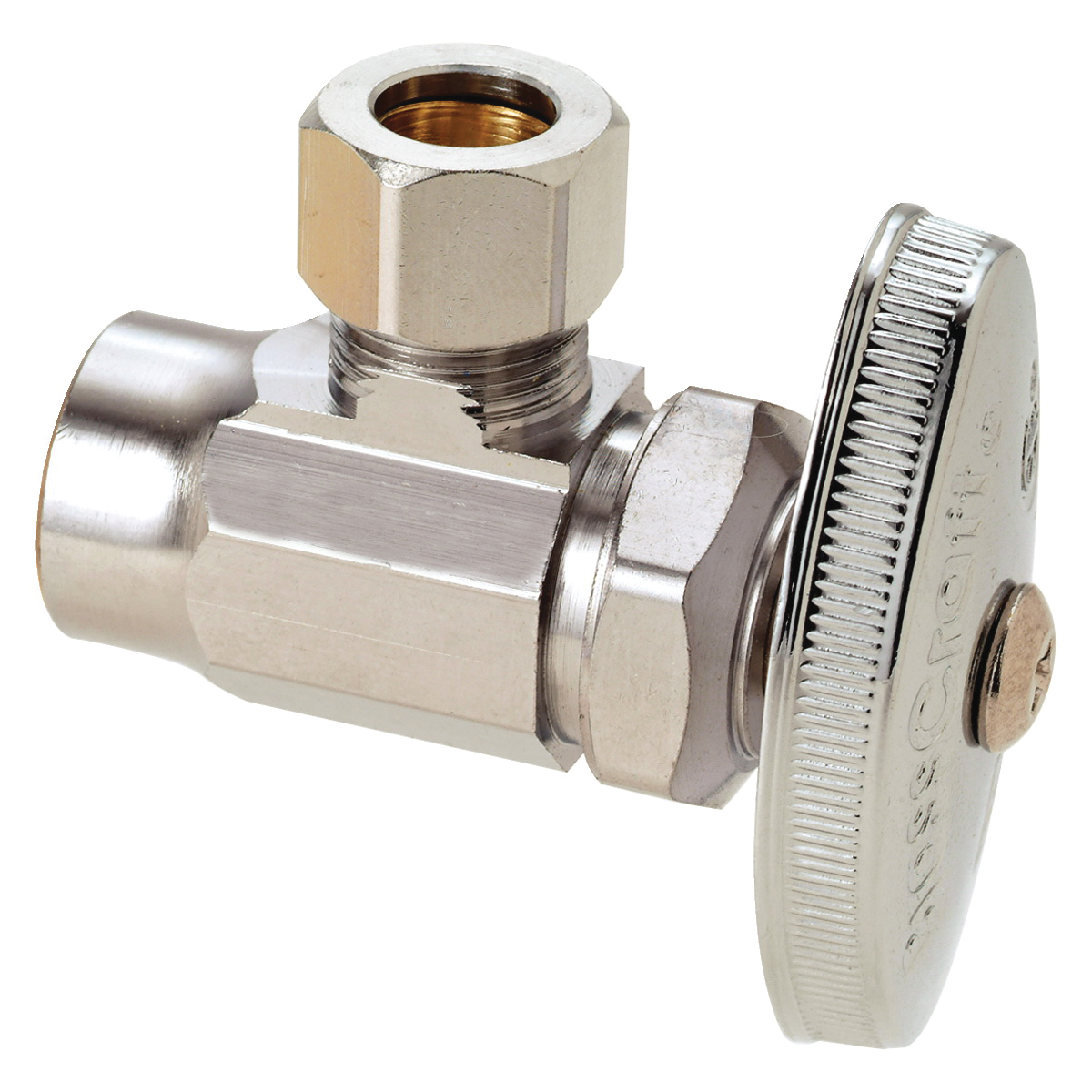 BrassCraft® R19XC Brass Angle Supply Stop Valve, 1/2 in x 3/8 in, Sweat x Compression, 125 psi, 40 - 140 deg F