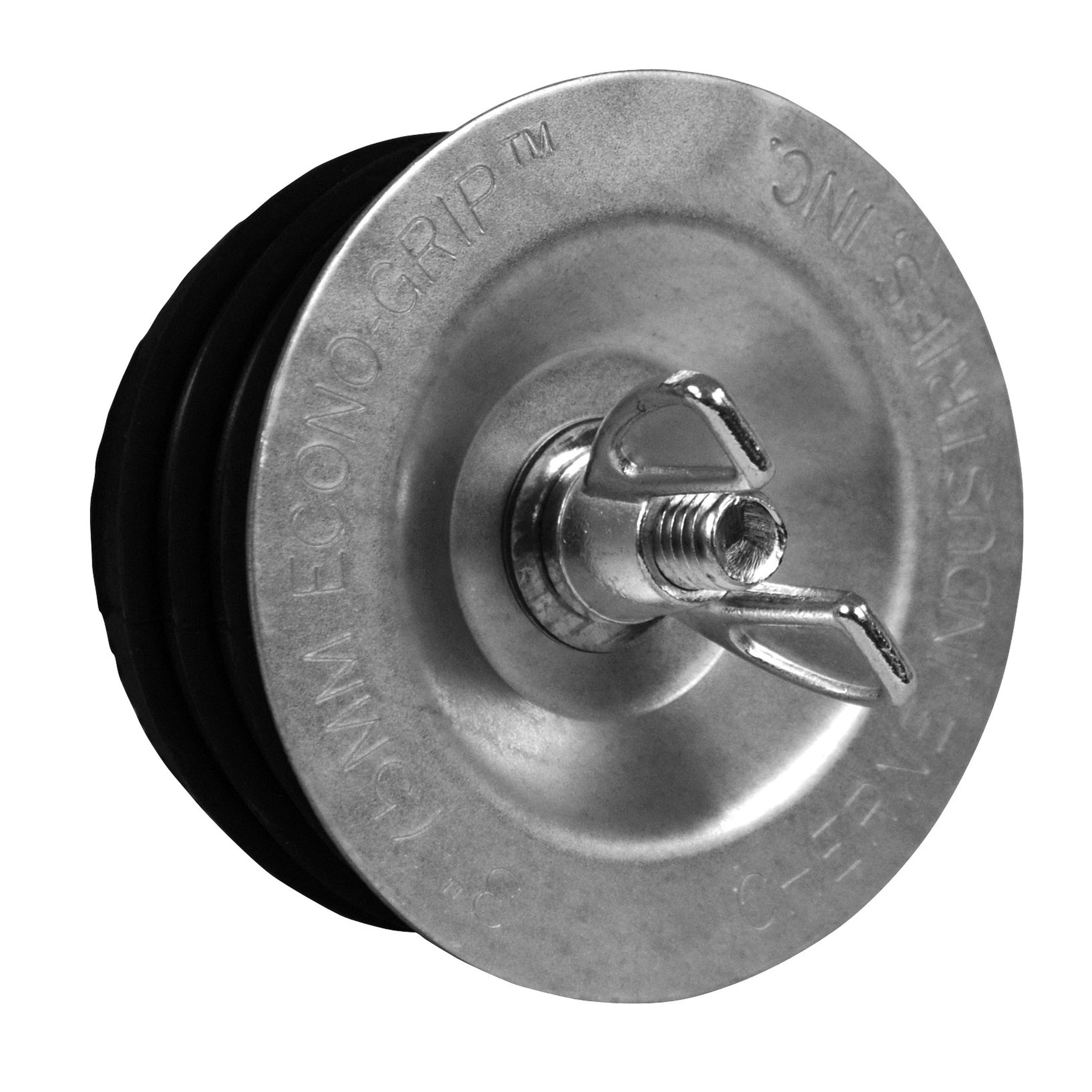 Cherne® Econ-O-Grip® 271-535 Galvanized Black Steel Cap/Natural Rubber O-Ring Mechanical Wing Nut Test Plug, 3 in
