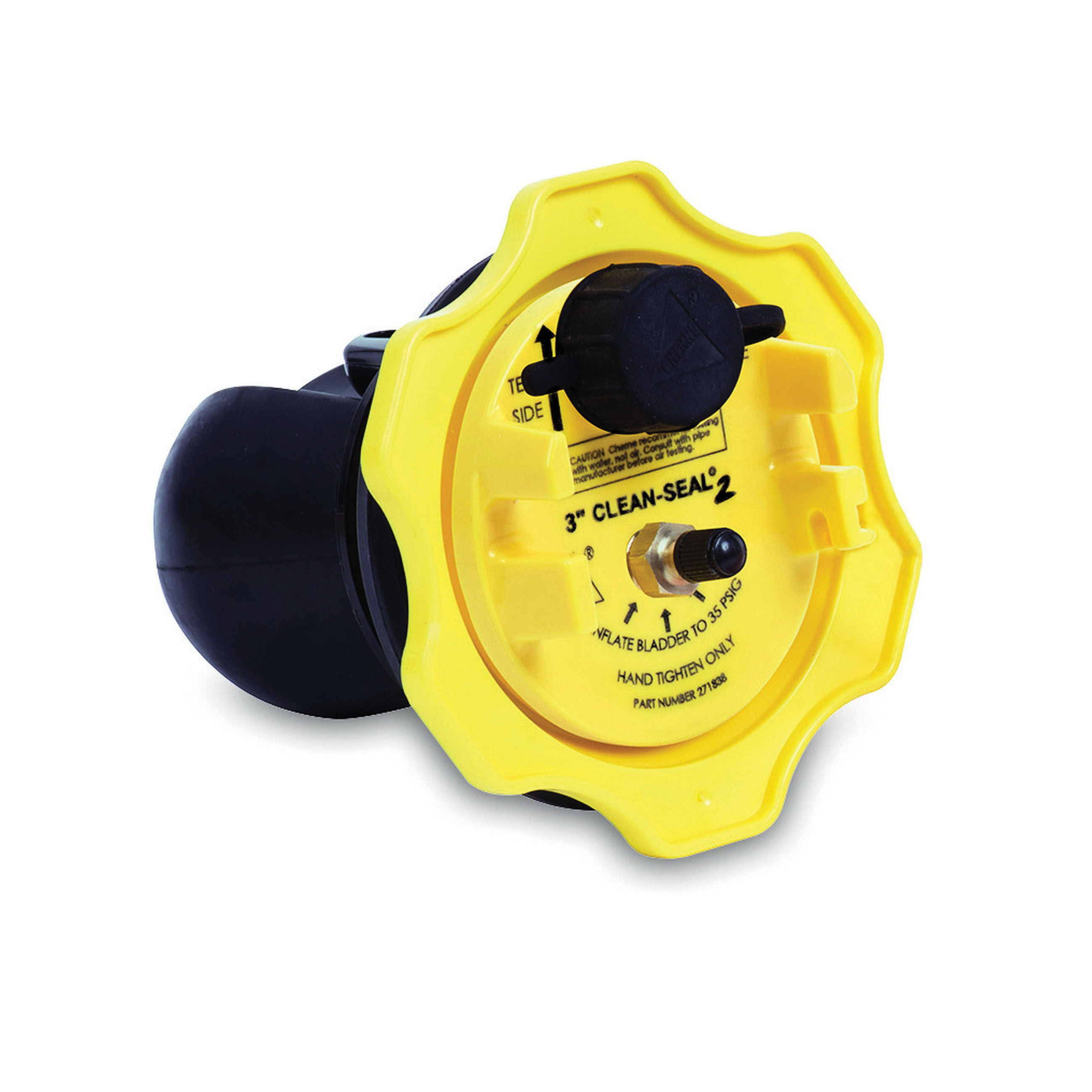 Cherne® Clean-Seal2® 271-838 Black/Yellow Rubber Test Plug, 3 in