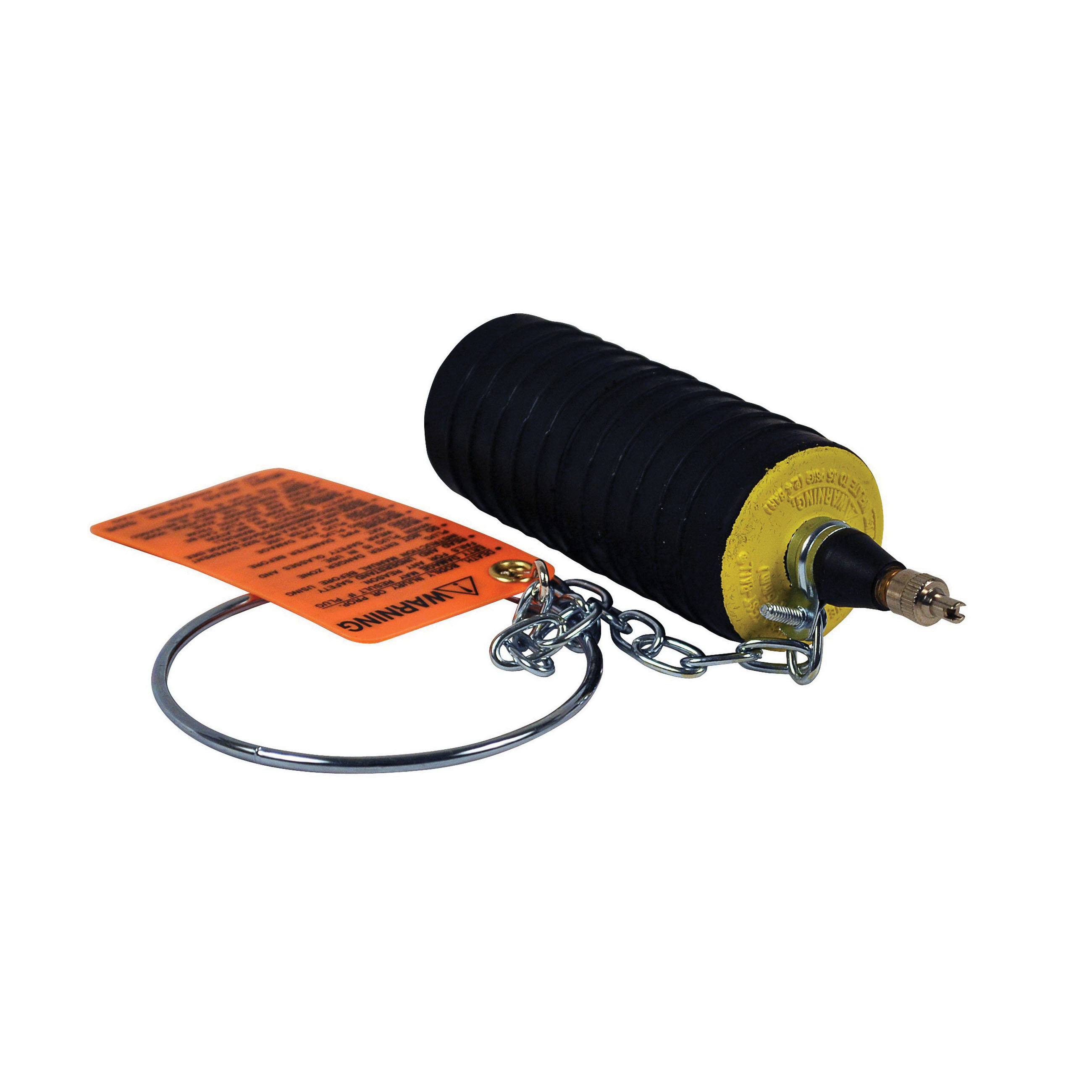 Cherne® Test-Ball® 276-238 Zinc Plated Chain Black/Yellow Natural Rubber Multi-Size Pneumatic Plug, 2 - 3 in