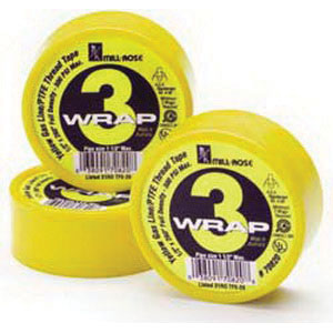 Cleanfit Blue Monster® 70820 3-Wrap PTFE Thread Seal Tape, 260 in L x 1/2 in W x 0.004 in T, Yellow