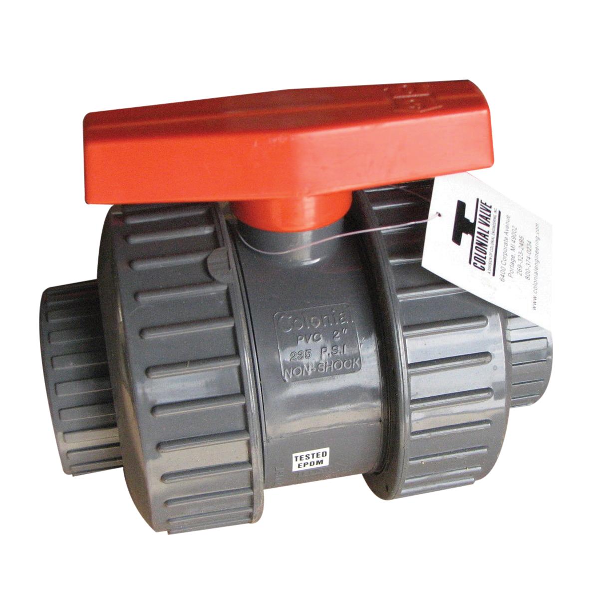 Colonial Engineering Full Block™ SCH 80 PVC Full Port True Union Ball Valve, Socket, 150 psi