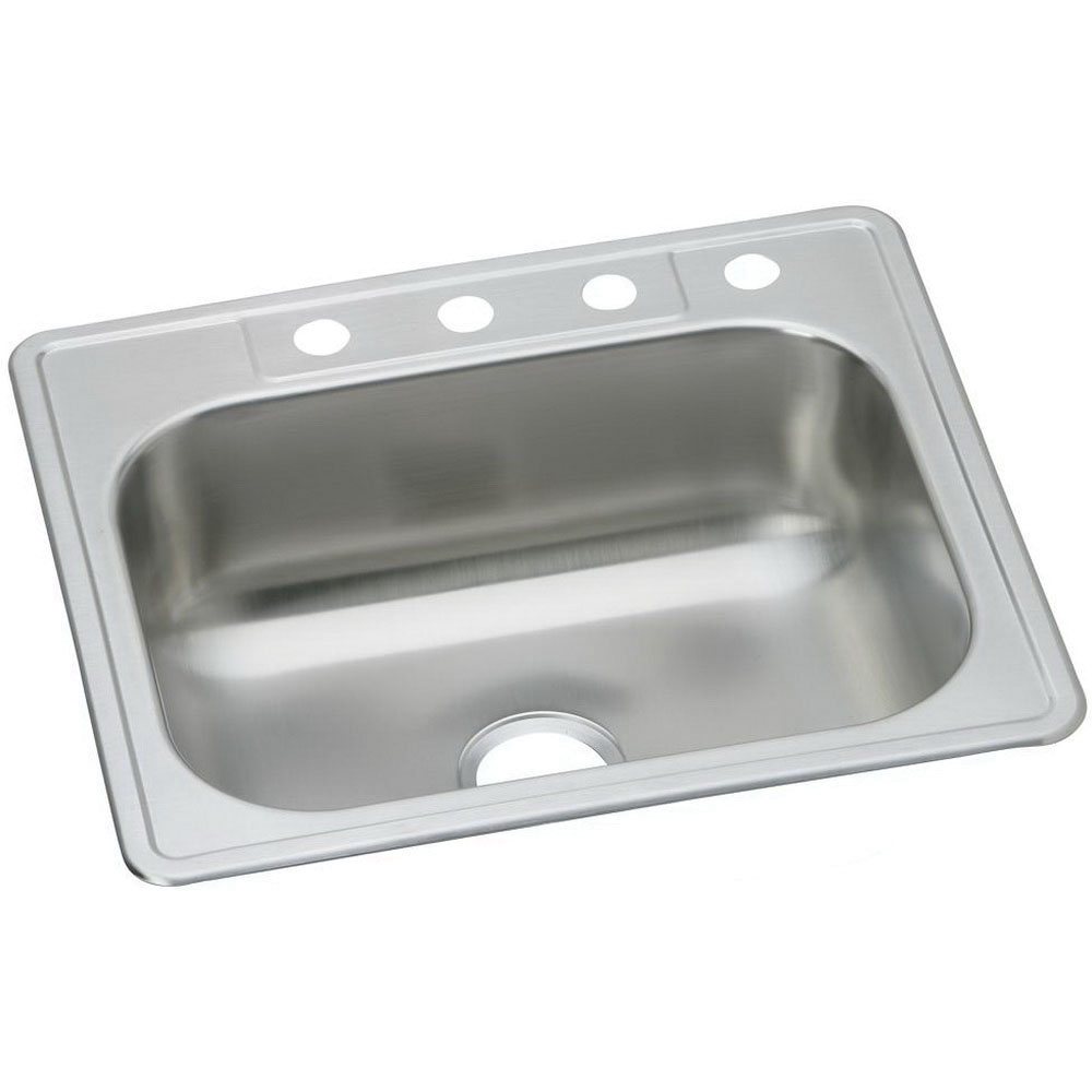 DAYTON® DSE125224 Elite Satin 20 ga 300 Stainless Steel Top Mount Kitchen Sink, 1-Bowl, 4-Faucet Hole