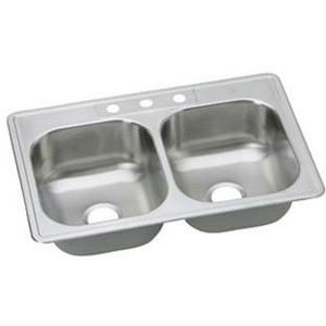 DAYTON® DSEJ23322-3 Elite Satin 20 ga 300 Stainless Steel Drop-In Top Mount Sink, 2-Bowl, 3-Faucet Holes